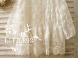 日单 森林系 白色恋人 刺绣花朵仙气蕾丝套头娃娃衫 森女甜美清新