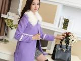 2014秋冬女装新款韩版毛呢外套中长款圆领斗篷毛领呢子大衣修身