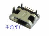 工厂供应micro usb 牛角四脚平口母座连接器