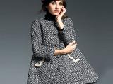 国际情人2014秋冬新款 欧美高端 重工金属镶钻水晶扣格纹羊毛大