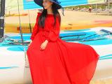 2015一字领露肩性感飘逸连衣裙灯笼袖沙滩百褶长裙度假波西米亚裙