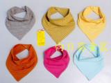 2015新款 全棉针织新生婴儿口水巾宝宝双层双按扣围嘴三角巾