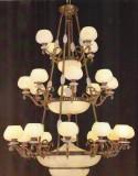 云石灯厂家:全铜云石吊灯,西班牙云石灯罩