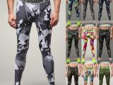速卖通 代发迷彩紧身裤男运动Pro压缩裤