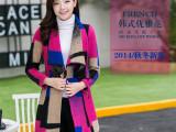 2014韩国东大门代购格子毛呢外套呢子大衣女 微信免费代理