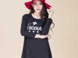 厂家直销宽松型韩版成人长袖打底衫黑色绿色常规袖玫红色t恤热卖