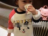 啦啦娃童装 2014秋冬新款中性宝宝加绒卫衣 卡通图案上衣2-7