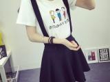 夏季新款韩版大码女装修身百搭圆领印花上衣纯棉短袖T恤女批发