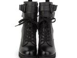 欧洲站2013秋新款韩版真皮马丁靴圆头侧拉链短靴粗跟女鞋高跟鞋裸