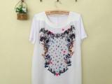 现货2014春夏新款女装专柜风星星图案休闲短袖T恤QFS MOT