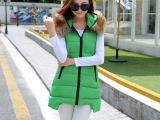 实拍2015冬新款修身韩版羽绒棉马甲女中长显瘦大码女装棉马夹