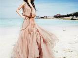 外贸女装 大码长款百褶裙无袖背心雪纺连衣裙波西米亚沙滩裙 长裙