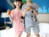 2015夏季儿童纯棉家居服套装卡通图案男童女童短袖睡衣批发