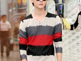 2014秋季新款修身条纹V领长袖男士T恤 舒适透气休闲品牌男装