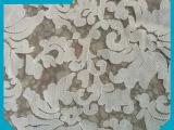 厂家来样加工 弹力花纹网布刺绣花边  白色棉布网底刺绣花边
