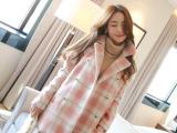 韩国东大门代购 2014秋冬韩版 羊毛呢子 中长款格子大衣现货