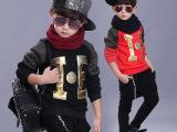 儿童T恤秋冬新款加绒中小童字母绣花男童长袖T恤外贸原单童打底衫