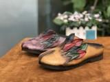 广州真皮女鞋工厂批发外贸个性休闲手工复古原创民族风牛皮女鞋子