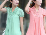 2014春夏韩版大码女装批发蕾丝珍珠雪纺拼接绝对正品一件代发