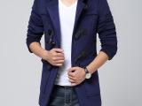男式羊角扣连帽毛呢大衣男 男士呢子大衣风衣批发 大口袋羊绒大衣