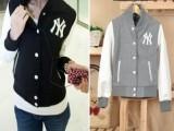 13秋装新品款日系徽章羊毛夹克立领拼皮袖长袖NY棒球服短外套