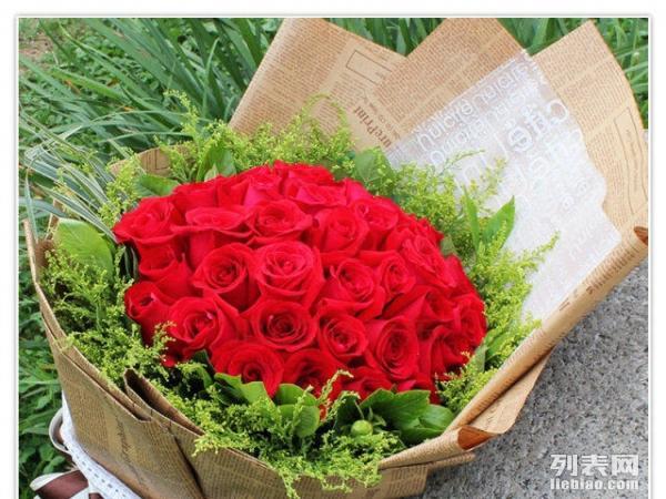 花袭人 鲜花速递 33 朵 红玫瑰花束 情人节送花
