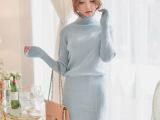 秋冬新品韩国东大门时尚气质百搭高领包臀长袖针织打底连衣裙