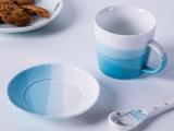 景德镇创意陶瓷杯高档简约渐变日式咖啡杯马克杯耐高温可定制配碟
