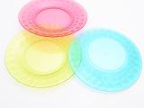 北欧简约透明水果胶盘 亚克力炫彩塑料水果托盘 圆形果盘批发 95