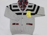 2014春装童装儿童毛衣 男童条纹假两件套纯棉毛衣套头衫男
