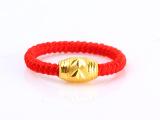 本命年转运珠红绳戒指 手工编织戒指 高仿黄金镀金保色戒指批发