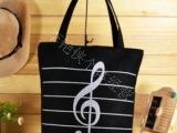 新款印花帆布包休闲包音符包包特价包包韩版包包时尚包大音符