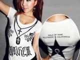 款韩版潮女装短袖紧身t恤棉T修身夜店性感打底衫潮