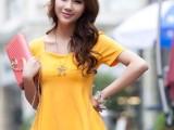 2014新款韩版纯色t恤修身显瘦小裙摆短袖上衣百搭款批发一件代发