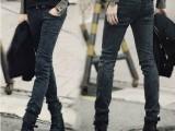 2014新款秋季修身潮男士牛仔裤黑色雪花小脚裤 男装长铅笔裤子