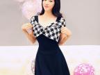 2014春夏新款韩版女装修身性感超大蝴蝶结气质V领短袖A字连衣裙女