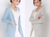 2015新款 针织开衫 V领长袖 女毛衣 中长款 一件代发