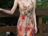 长款修身露背性感真丝连衣裙桑蚕丝吊带欧美印花拖地长裙 沙滩裙
