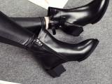 2014秋冬新款欧洲站时尚真皮女靴 纯色异形跟马丁靴靴子厂家直销
