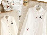 日系森女小清新彩色卡通图案刺绣翻领纯棉白色长袖衬衫一件代发