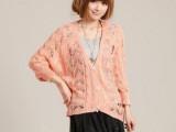 2014韩版新款春装女装镂空开衫蝙蝠袖针织衫百搭V领开衫