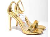2014夏季新款ZARA女鞋 欧美外贸品牌 细跟金色高跟凉鞋 厂