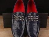 厂家直销欧洲站14新款真皮时尚铆钉豆豆鞋潮男士皮鞋微信一件代发