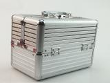 厂家直销银色两层双开化妆箱 首饰箱 化妆工具箱批发定制铝箱