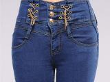 韩版新品高腰牛仔裤女士 显瘦弹力小脚裤修身铅笔裤