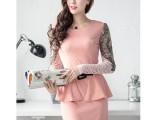 厂家批发2014春季新款OL时尚修身连衣裙女长袖蕾丝包臀裙