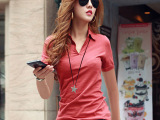 棉扣子2015夏装新款女装韩版衬衫领上衣纯棉V领短袖女t恤衫30