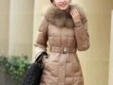 冬季爆款正品女士中长款大貉子毛领修身羽绒棉服加厚棉衣小棉袄