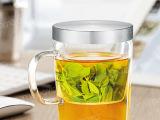 尚明 耐摔商务办公创意带盖高硼硅玻璃水杯 不锈钢盖透明玻璃茶杯