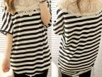 代发2013夏装新款韩版宽松大码胖MM性感女人味镂空条纹短袖T恤女